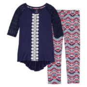 One Step Up® 2-pc. 3/4-Sleeve Top and Printed Leggings Set - Girls 7-12