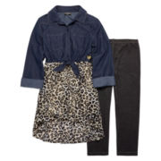 XOXO® 2-pc. 3/4-Sleeve Chambray Top and Leggings Set - Girls 7-12