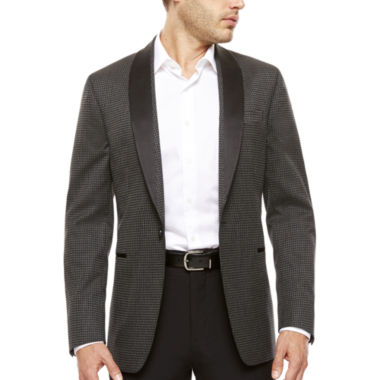 jcpenney.com | J. Ferrar® Black Grey Houndstooth Slim Sport Coat