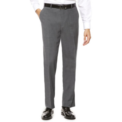 Stafford® Travel Classic-Fit Stretch Charcoal Windowpane Suit Pants