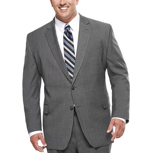 Stafford® Travel Stretch Charcoal Windowpane Suit Jacket - Big & Tall