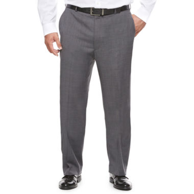 jcpenney.com | Stafford® Travel Stretch Charcoal Windowpane Suit Pants - Big & Tall