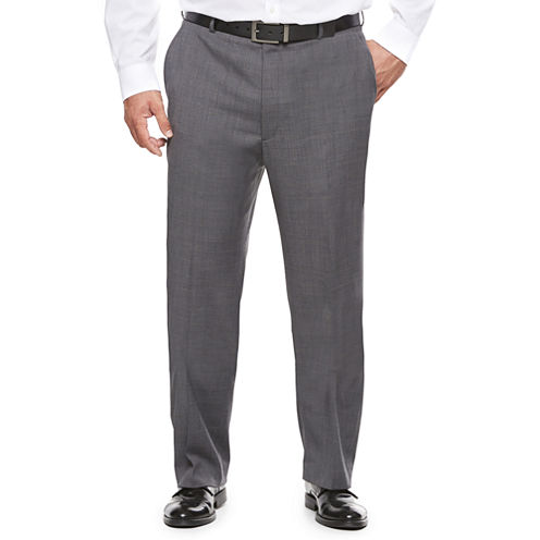 Stafford® Travel Stretch Charcoal Windowpane Suit Pants - Big & Tall