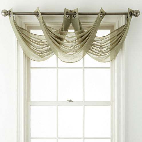 Royal Velvet® Crushed Voile Grommet-Top Waterfall Valance