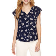 Liz Claiborne® Short-Sleeve Button-Front Top - Petite