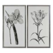 Set of 2 Sepia Flowers Framed Wall Art