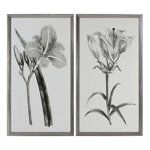 Set of 2 Sepia Flowers Framed Wall Art