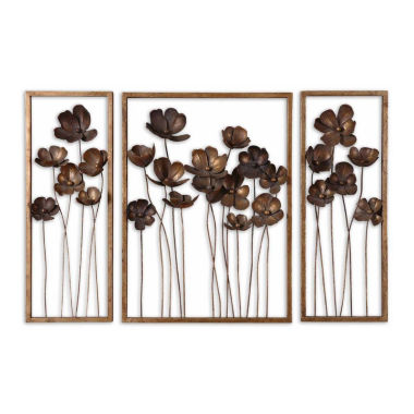 jcpenney.com | Set of 3 Metal Tulips Wall Art