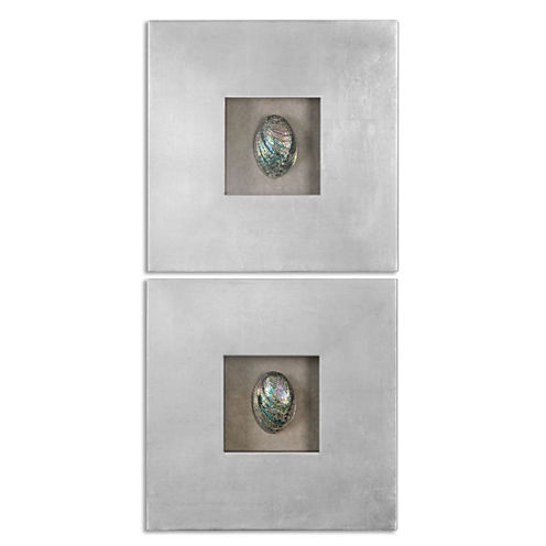 Set of 2 Abalone Shell Wall Decoration
