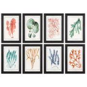 Set of 8 Framed Colorful Algae Art Pieces