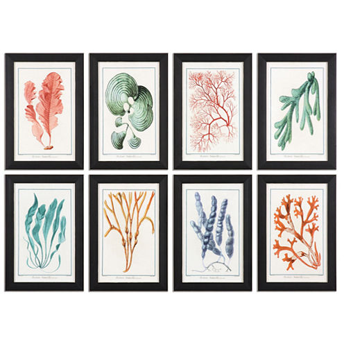 Set of 8 Framed Colorful Algae Art Pieces