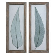 Set of 2 Tall Leaves Framed Wall Art