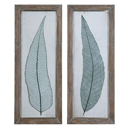 Set of 2 Tall Leaves Framed Wall Art