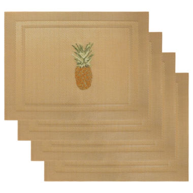 jcpenney.com | Arlee Set of 4 Pinapple Embroidered Placemats