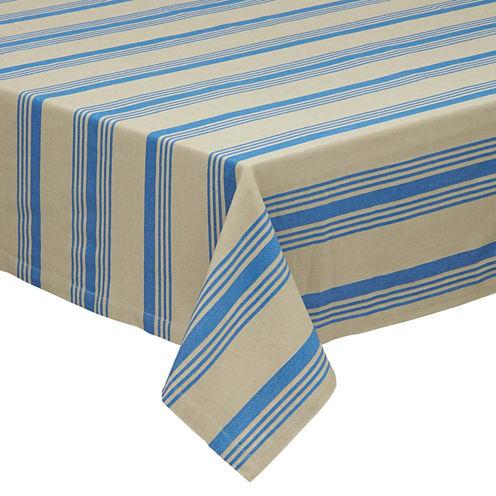 "Design Imports Sailor Stripe 52x52"" Tablecloth"