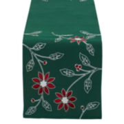 Design Imports Embroidered Poinsettia Table Runner