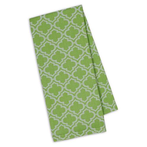 Design Imports Lime Lattice Jacquard Set of 4 Kitchen Towels