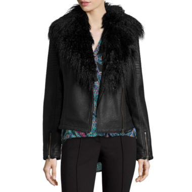 jcpenney.com | nicole by Nicole Miller® Faux Pleather Biker Jacket with Faux Fur Trim