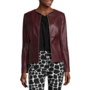 Liz Claiborne® Long-Sleeve Pleather Jacket - Tall