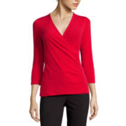 Liz Claiborne® 3/4-Sleeve Surplus Top