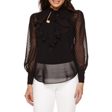 jcpenney.com | Bisou Bisou® Long-Sleeve Ruffled Top