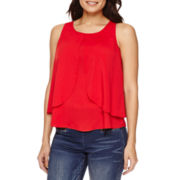 Bisou Bisou® Sleeveless Tiered Draped Top