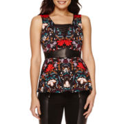 Bisou Bisou® Sleeveless Lace-Up Peplum Top