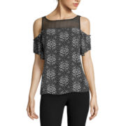 Worthington® Flutter-Sleeve Cold-Shoulder Blouse