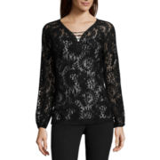 Worthington® Long-Sleeve Lace-Up Blouse