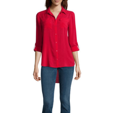 jcpenney.com | a.n.a 2 Pocket Tab Sleeve Blouse