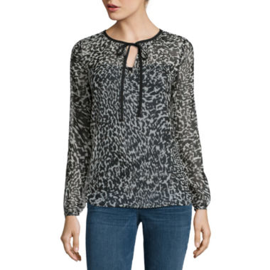 jcpenney.com | a.n.a® Long-Sleeve Tie-Neck Blouse copy