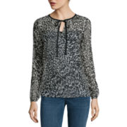 a.n.a® Long-Sleeve Tie-Neck Blouse