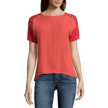 jcpenney.com | a.n.a® Short-Sleeve Eyelet-Shoulder Lace-Up Top