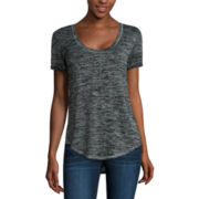 a.n.a® Short-Sleeve Textured High-Low-Hem Tee