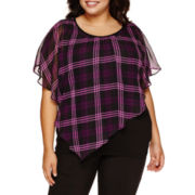 Alyx® Short-Sleeve Asymmetrical-Hem Plaid Popover Top - Plus