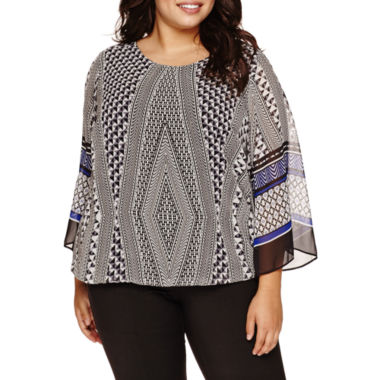 jcpenney.com | Alyx® Bell-Sleeve Geometrical Bubble Top - Plus