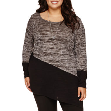 jcpenney.com | Alyx® Long-Sleeve Asymmetrical-Hem Colorblock Tunic with Necklace - Plus
