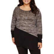 Alyx® Long-Sleeve Asymmetrical-Hem Colorblock Tunic with Necklace - Plus