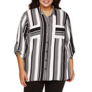 Alyx® 3/4-Sleeve Button-Front Striped Crepe Shirt - Plus