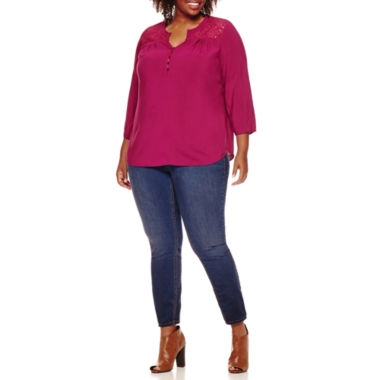 jcpenney.com | St. John's Bay® 3/4-Sleeve Lace-Yoke Blouse or Pull-On Jeggings