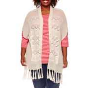 St. John's Bay® Short-Sleeve Crochet Flyaway Cardigan - Plus