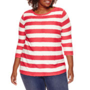 St. John's Bay® 3/4-Sleeve Striped Top - Plus