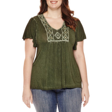 jcpenney.com | Unity™ Flutter-Sleeve Oil Wash Blouse - Plus