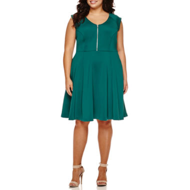 jcpenney.com | Boutique+ Short-Sleeve Fit-and-Flare Scuba Dress - Plus