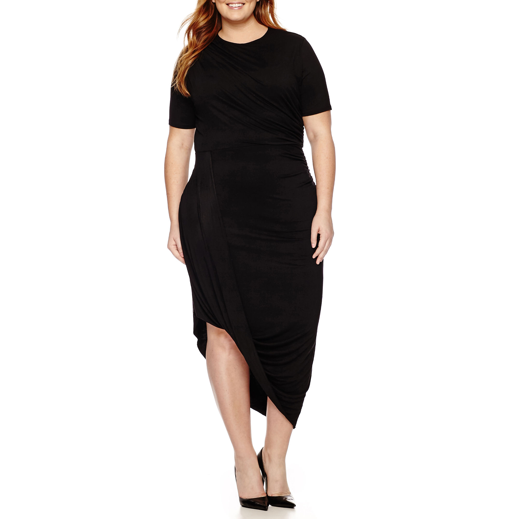 Worthington Short-Sleeve Draped Sheath Dress - Plus