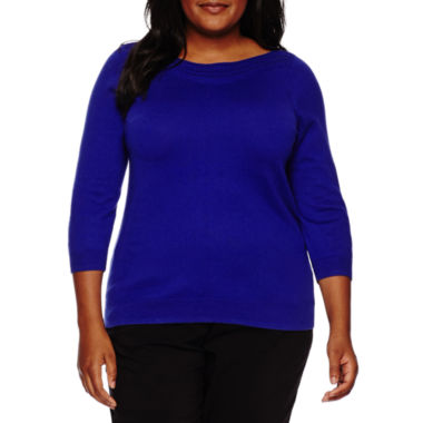 jcpenney.com | Worthington® 3/4-Sleeve Pointelle-Trim Sweater - Plus