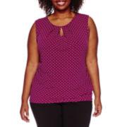 Liz Claiborne® Sleeveless Keyhole Knit Top - Plus