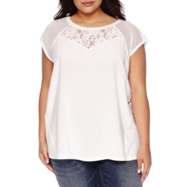 jcpenney.com | Boutique+ Short-Sleeve Mixed Media Tee - Plus