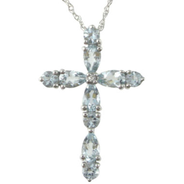jcpenney.com | Aquamarine & Lab-Created Sapphire Cross Pendant Necklace