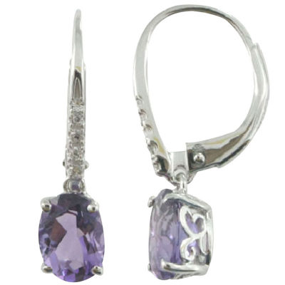 Amethyst & Lab-Created Sapphire Earrings